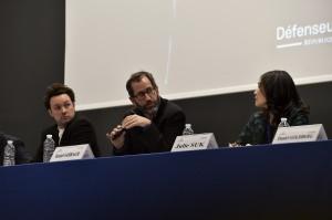 Daniel Sabbagh-Directeur de recherche à Sciences Po Paris (au centre). Morgan Sweeney-Maître de conférences en droit-Université Paris-Dauphine (à gauche) et Julie Suk (à droite).