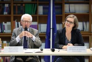 © Thierry Marro Michel Laviale, vice-président plateforme RSE et Kathia Martin-Chenut, directrice scientifique de la Mission de recherche Droit et Justice.